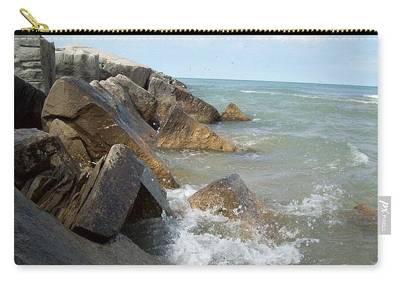 Tmad Carry-all Pouch featuring the photograph Crashing Beauty by Michael TMAD Finney