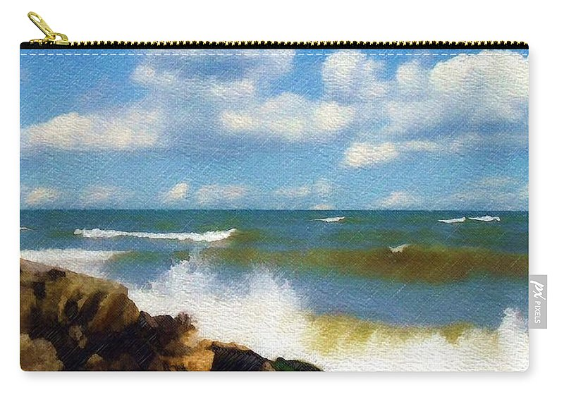 Seascape Carry-all Pouch featuring the photograph Crashing Into Shore by Sandy MacGowan