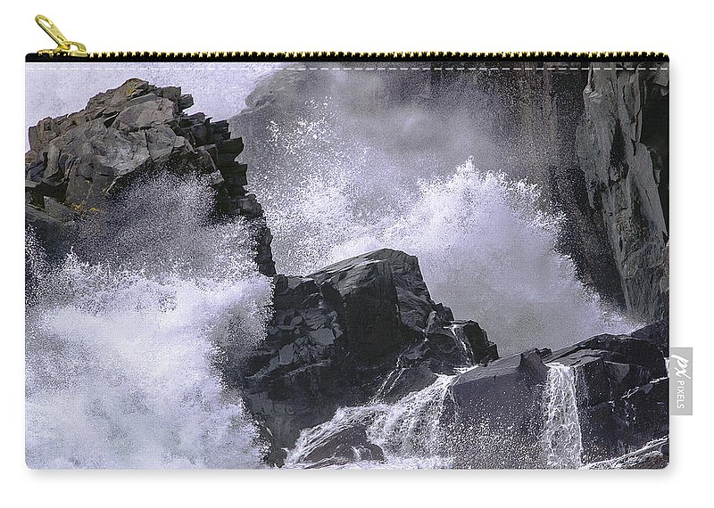 Crashing Wave Carry-all Pouch featuring the photograph Crashing Wave At Quoddy by Marty Saccone