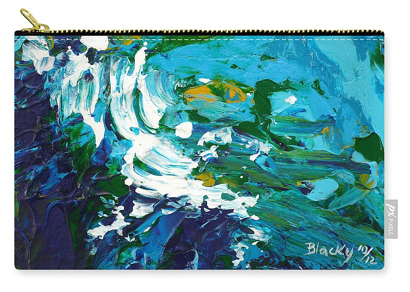 Bold Abstract Carry-all Pouch featuring the painting Crashing Wave by Donna Blackhall