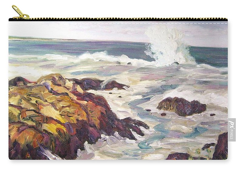 Water Carry-all Pouch featuring the painting Crashing Wave On Maine Coast by Richard Nowak