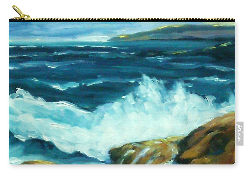 Sea Carry-all Pouch featuring the painting Crashing Waves by Richard T Pranke