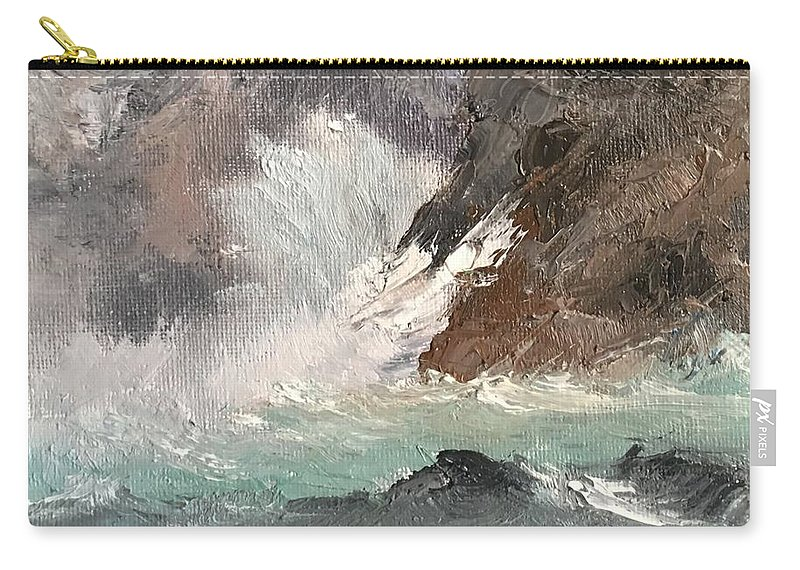 Seascape Carry-all Pouch featuring the painting Crashing Waves Seascape Art by Michele Carter