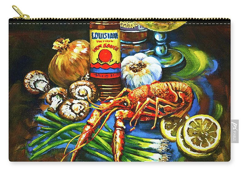 Louisiana Food Carry-all Pouch featuring the painting Crawfish Fixin's by Dianne Parks