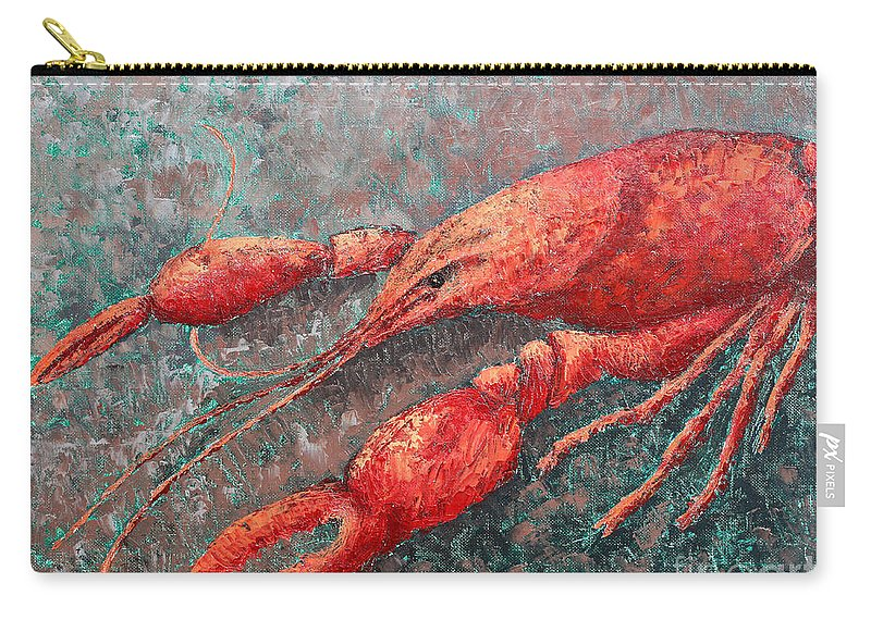 Animal Carry-all Pouch featuring the painting Crawfish by Todd Blanchard