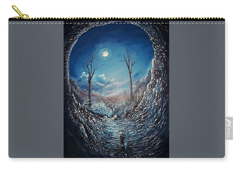 Moon Carry-all Pouch featuring the painting Crawling Out by Monika Bickei