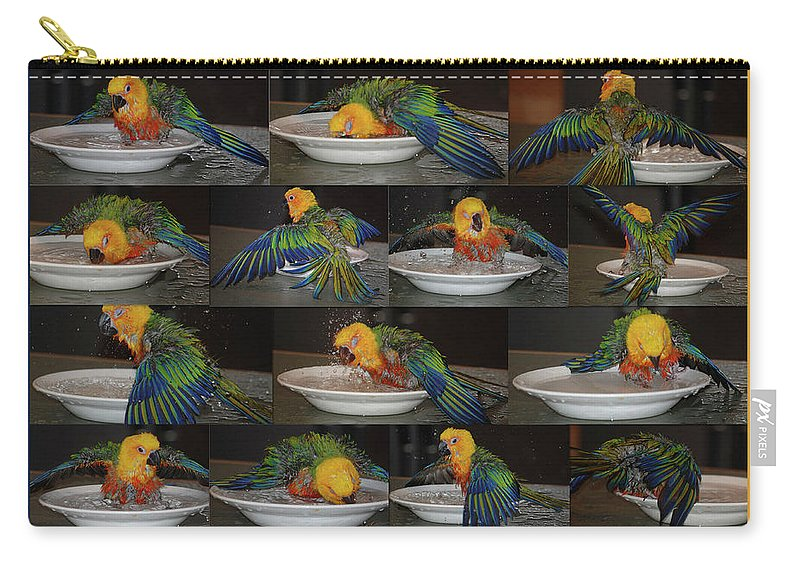 Jenday Conure Carry-all Pouch featuring the photograph Crayolas Bath Time by DigiArt Diaries by Vicky B Fuller