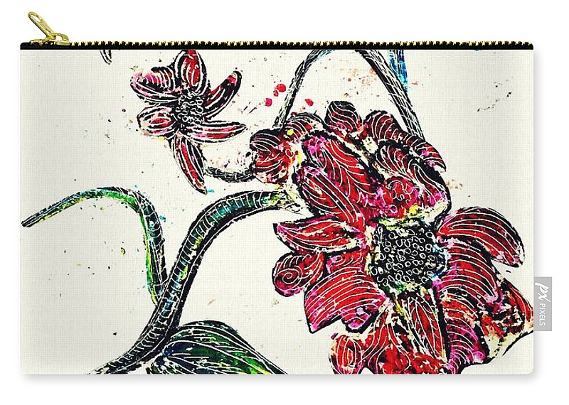 Flower Carry-all Pouch featuring the drawing Crayon Flowers by Sarah Loft