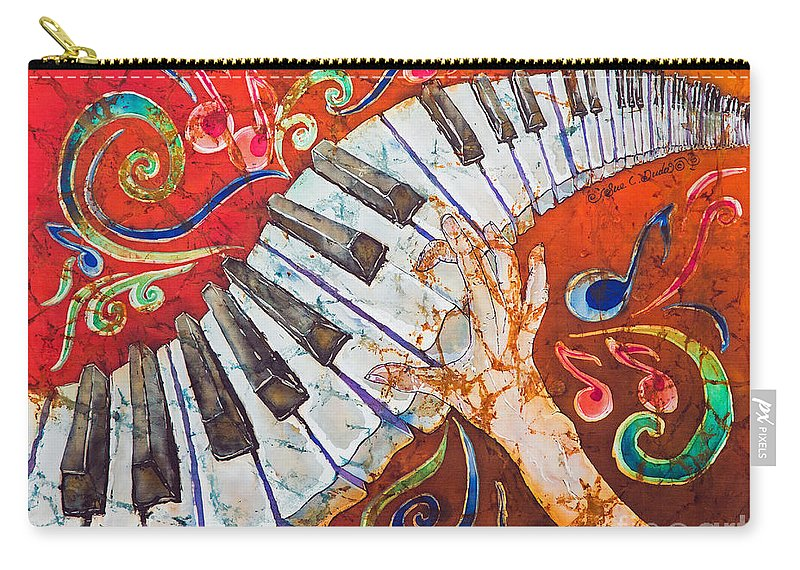Piano Carry-all Pouch featuring the tapestry - textile Crazy Fingers - Piano Keyboard by Sue Duda
