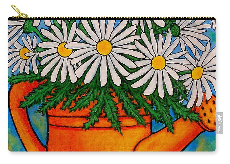Daisies Carry-all Pouch featuring the painting Crazy For Daisies by Lisa Lorenz