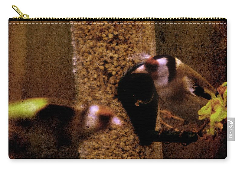 Feeder Carry-all Pouch featuring the photograph Crazy Goldfinch by Angel Tarantella