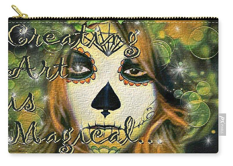 Digital Art Carry-all Pouch featuring the digital art Creating Art Is Magical by Artful Oasis