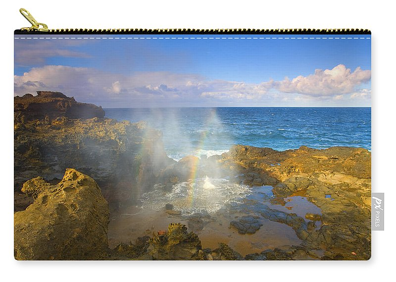 Blowhole Carry-all Pouch featuring the photograph Creating Miracles by Mike Dawson
