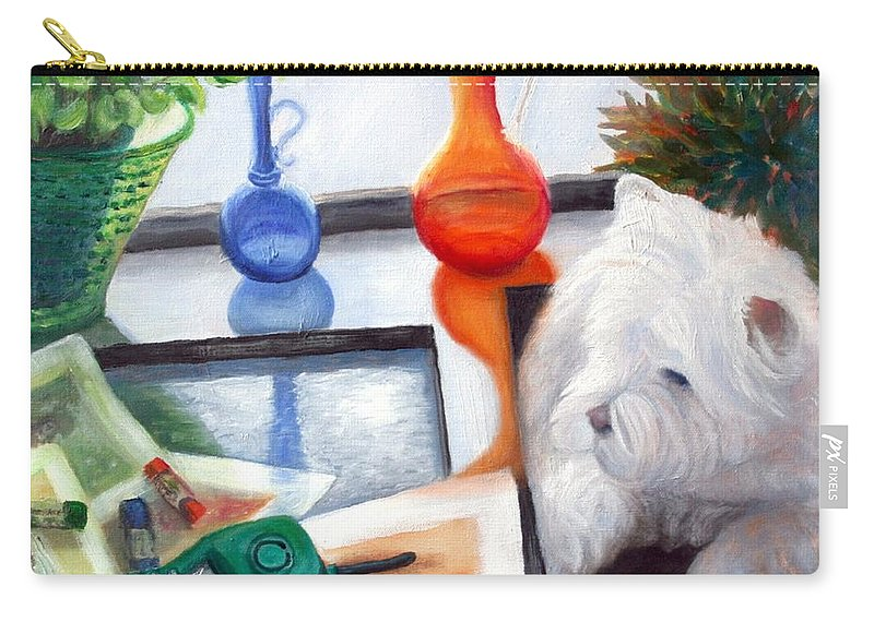Dog Carry-all Pouch featuring the painting Creative Reflections by Minaz Jantz