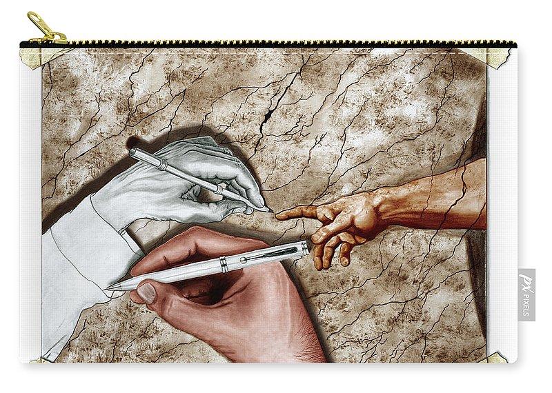 Creators Hand At Work Carry-all Pouch featuring the digital art Creators Hand At Work - Colored by Peter Piatt