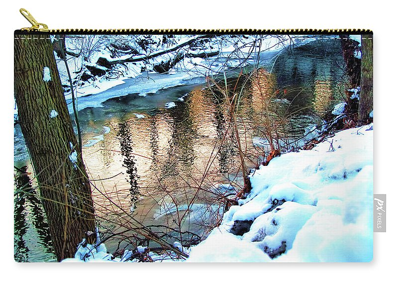 Bath Carry-all Pouch featuring the digital art Creek In Bath Ohio by Joan Minchak