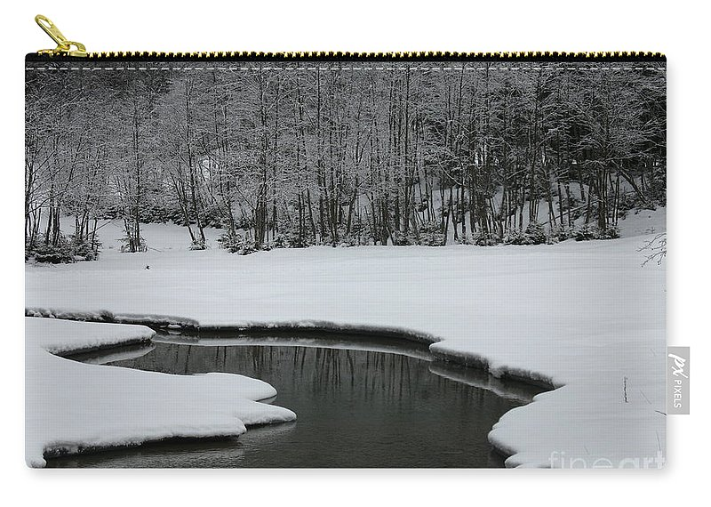 Creek Carry-all Pouch featuring the photograph Creek In Snowy Landscape by Christiane Schulze Art And Photography