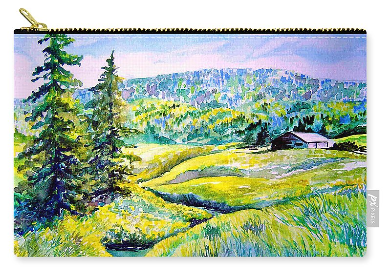 Arkansas Creek And Cottage Carry-all Pouch featuring the painting Creek To The Cabin by Joanne Smoley