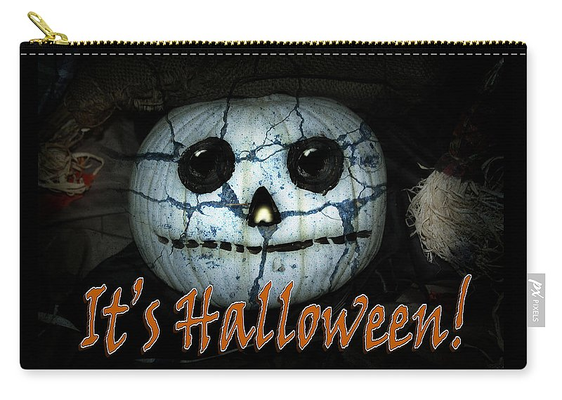 Halloween Carry-all Pouch featuring the mixed media Creepy Halloween Pumpkin by Gravityx9 Designs