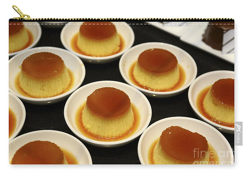 Cr�me Caramel Carry-all Pouch featuring the photograph Creme Caramel Dessert by Oren Shalev