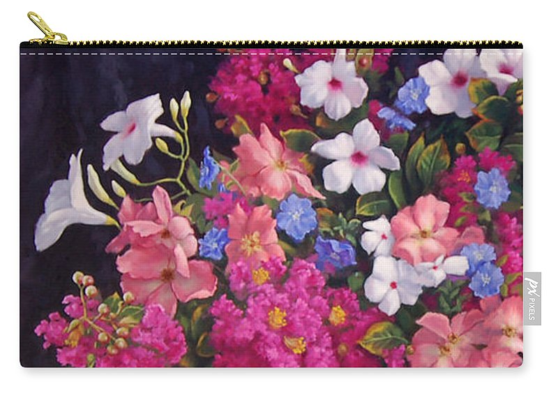 Roses Carry-all Pouch featuring the painting Crepe Myrtle And Roses by Johanna Girard