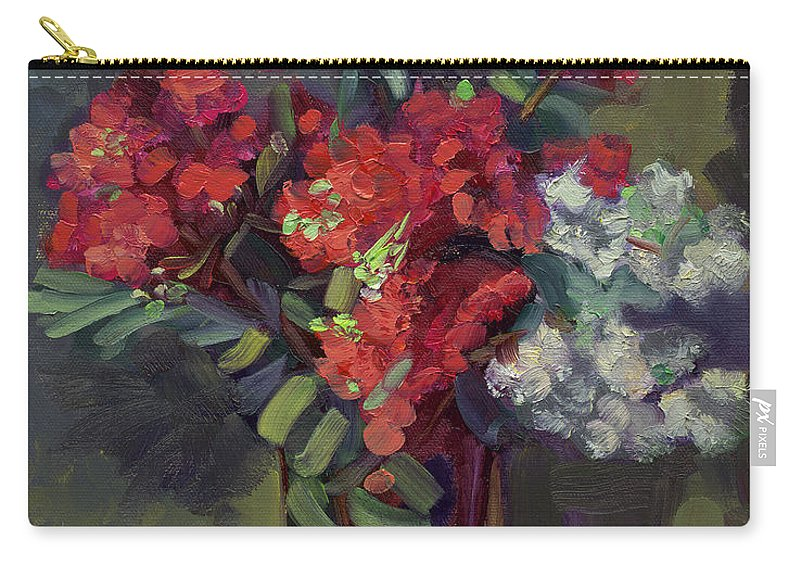 Floral Carry-all Pouch featuring the painting Crepe Myrtles In Glass by Lilibeth Andre