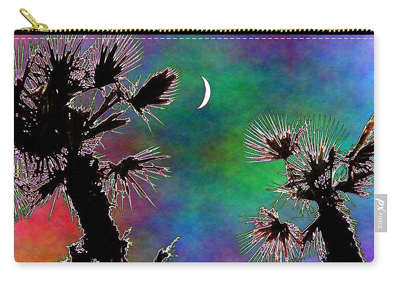 Moon Carry-all Pouch featuring the photograph Crescent And Palms 2 by Tim Allen