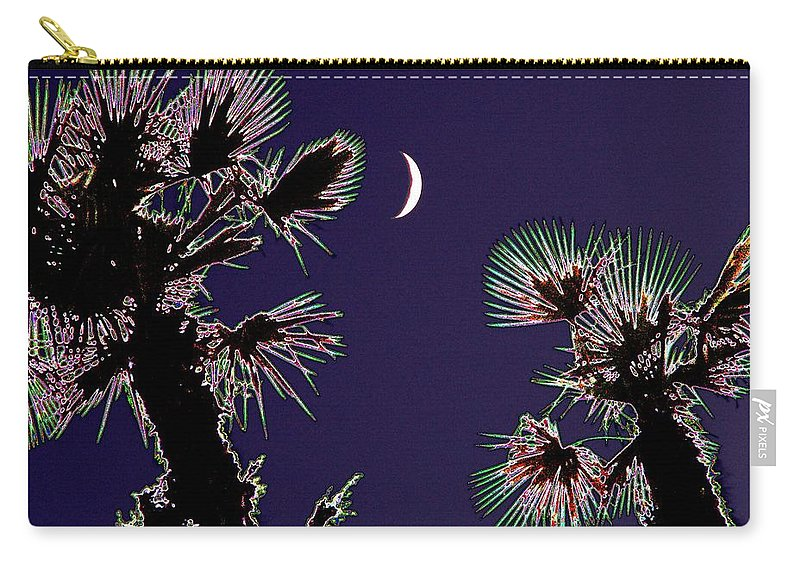 Moon Carry-all Pouch featuring the photograph Crescent And Palms by Tim Allen