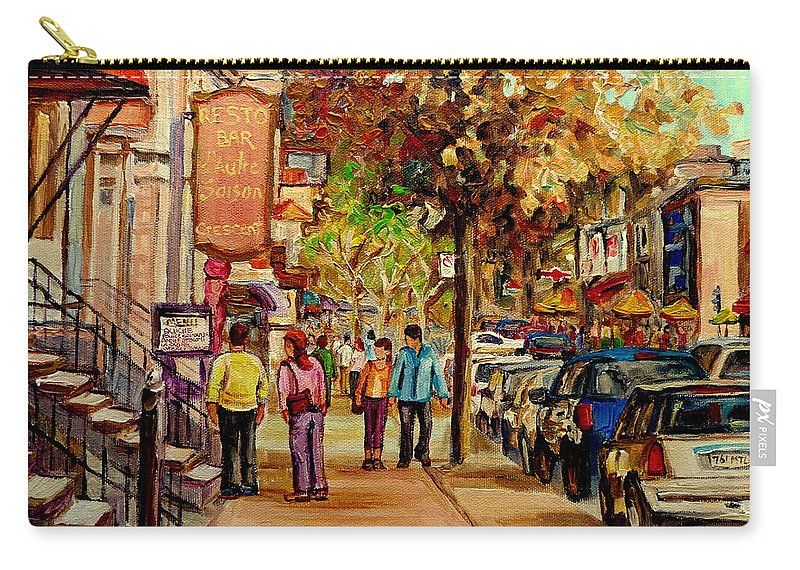 Montreal Streetscenes Carry-all Pouch featuring the painting Crescent Street Montreal by Carole Spandau