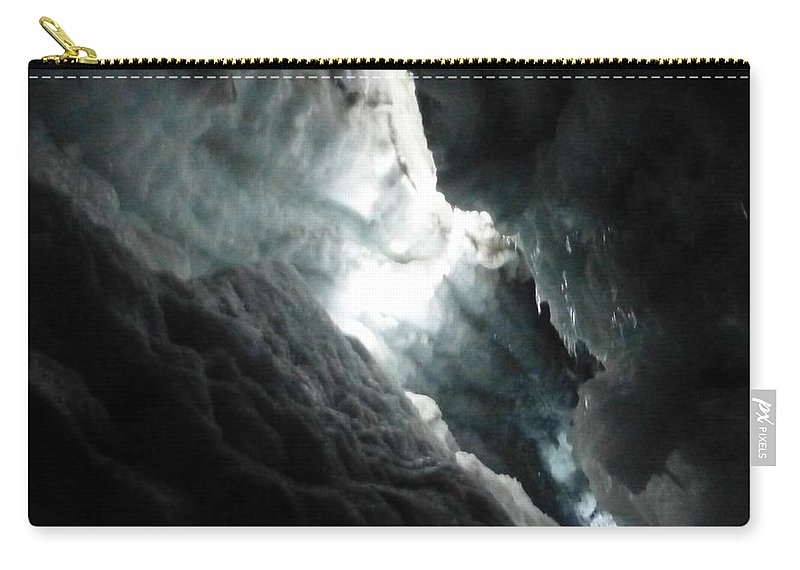 Crevasse In Langjokull Glacier Carry-all Pouch featuring the photograph Crevasse In Langjokull Glacier by Barbie Corbett-Newmin