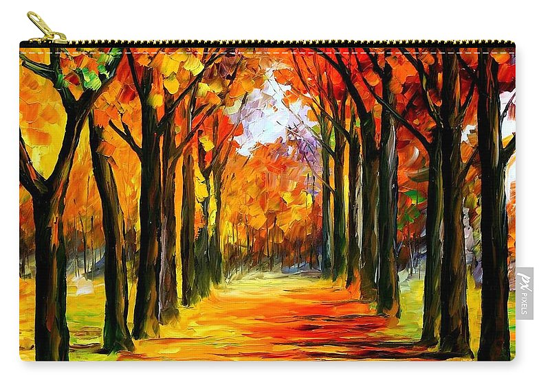 Afremov Carry-all Pouch featuring the painting Crimson Alley by Leonid Afremov