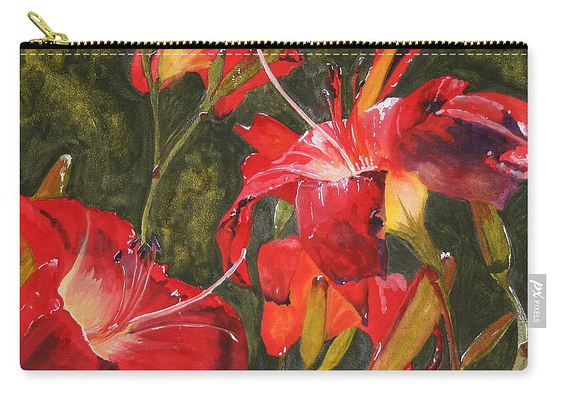 Red Carry-all Pouch featuring the painting Crimson Light by Jean Blackmer