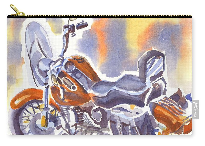 Crimson Motorcycle In Watercolor Carry-all Pouch featuring the painting Crimson Motorcycle In Watercolor by Kip DeVore
