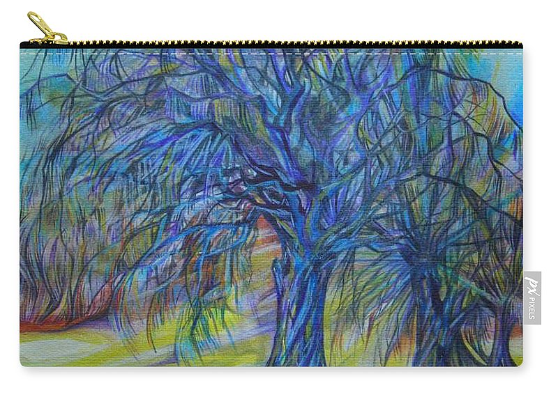 Blue Carry-all Pouch featuring the drawing Crystal Light by Anna Duyunova