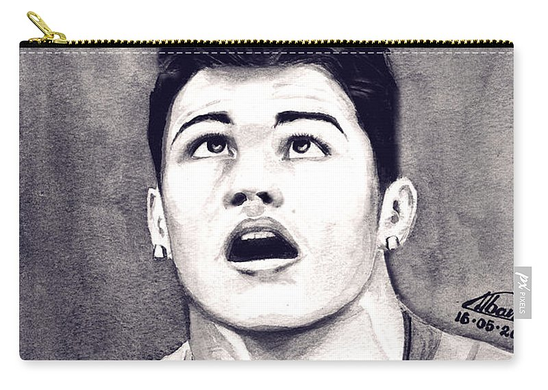 Ronaldo Portrait Carry-all Pouch featuring the painting Cristiano Ronaldo by Alban Dizdari