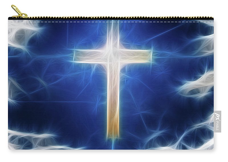 Cross Carry-all Pouch featuring the digital art Cross Abstract by Bruce Rolff