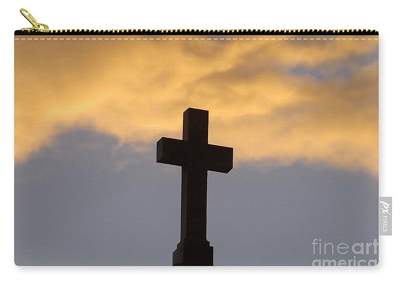 Cross Carry-all Pouch featuring the photograph Cross And Sky by David Lee Thompson