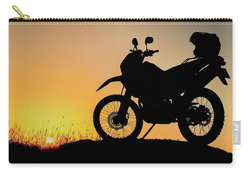 Motorcycle Carry-all Pouch featuring the photograph Cross-country Motorbike And Stony, Traveling In Tough Roads by Huseyin Bostanci
