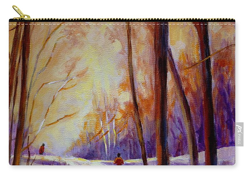 Cross Country Siing St. Agathe Quebec Carry-all Pouch featuring the painting Cross Country Sking St. Agathe Quebec by Carole Spandau