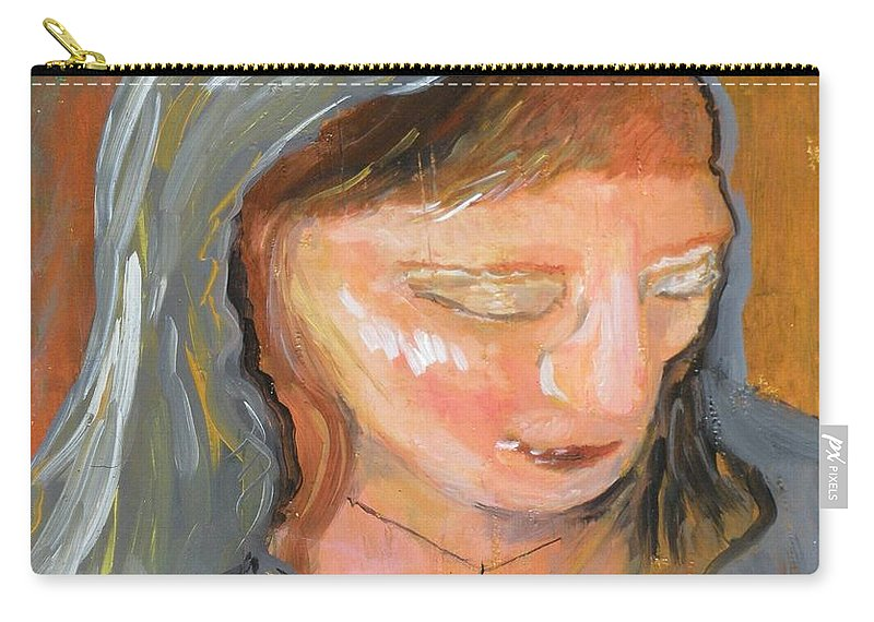 Angel Carry-all Pouch featuring the painting Cross For Maria by J Bauer
