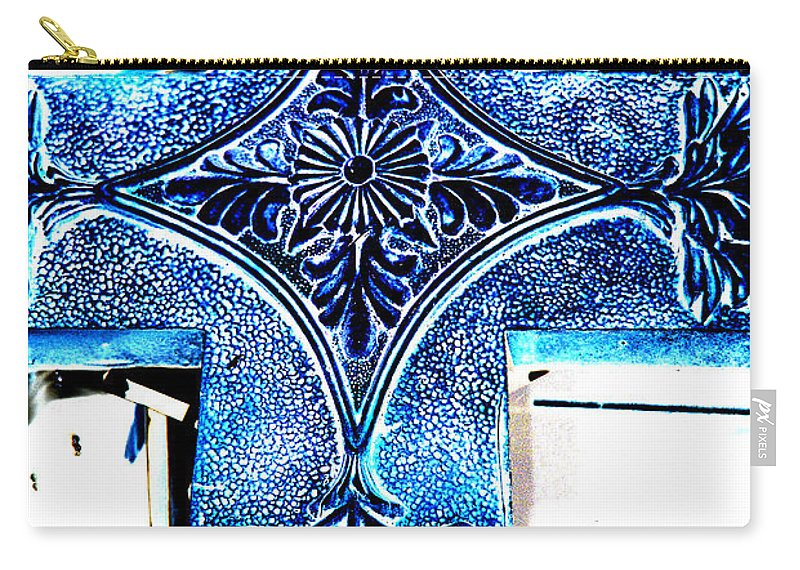 Photography Carry-all Pouch featuring the photograph Cross In Blue by Susanne Van Hulst