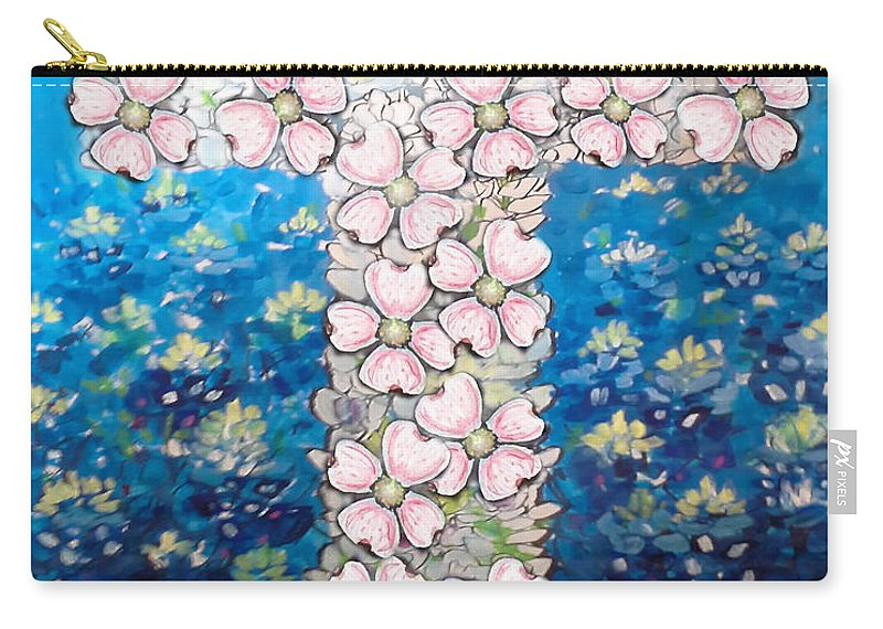 Religious Carry-all Pouch featuring the digital art Cross Of Flowers by Kevin Middleton