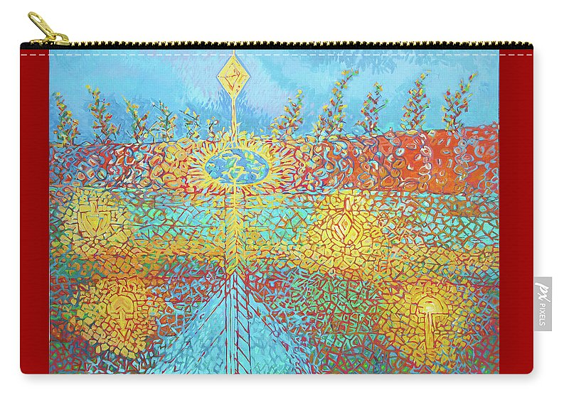 Diamond Carry-all Pouch featuring the painting Crosscut Earth by Michael Velkovich