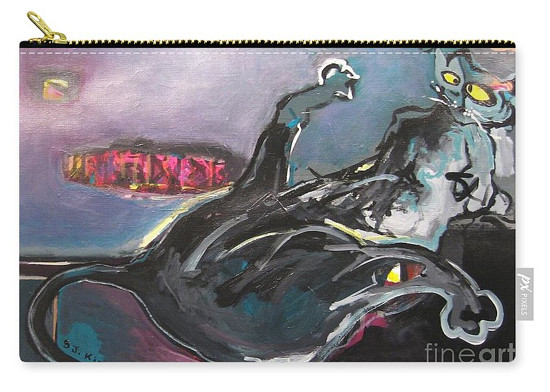 Cat Paintings Carry-all Pouch featuring the painting Crossed Eyed Cat by Seon-Jeong Kim