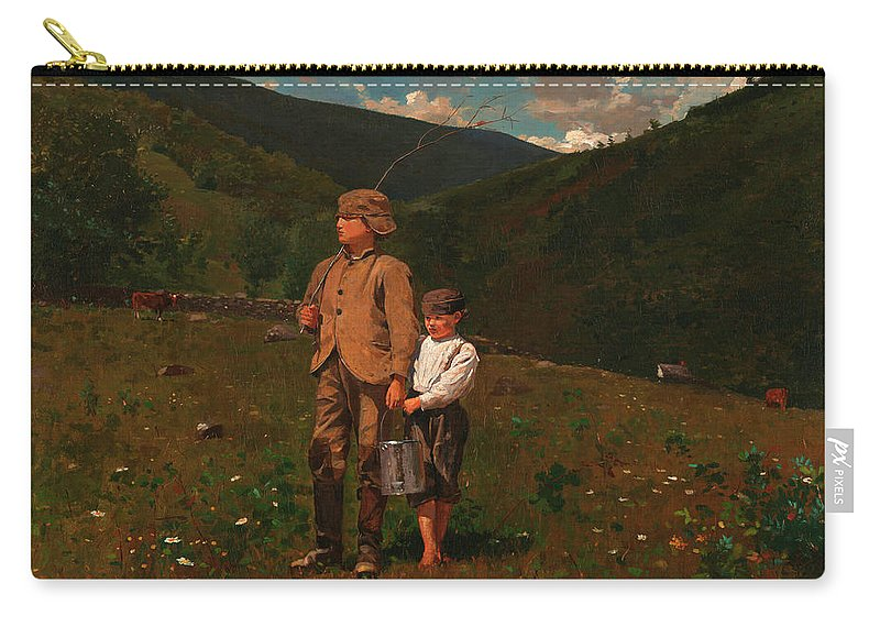 Crossing The Pasture Carry-all Pouch featuring the painting Crossing The Pasture by Winslow Homer
