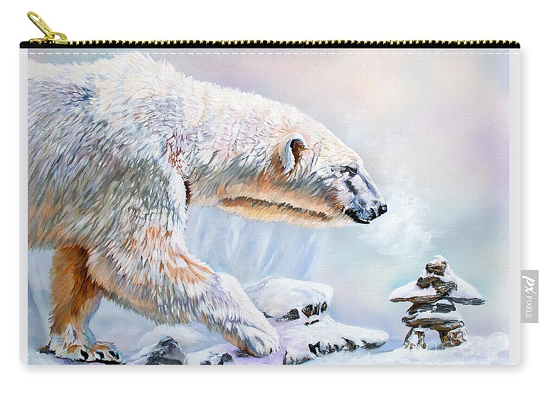 Polar Bear Carry-all Pouch featuring the painting Crossroads by J W Baker