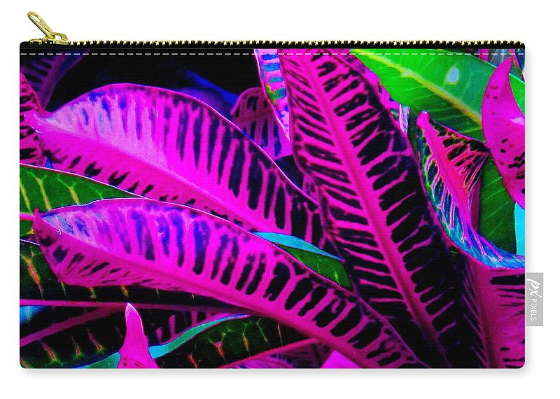Croydon Plants Purple Green Carry-all Pouch featuring the photograph Croton by Ian MacDonald