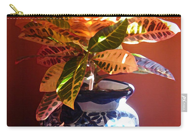 Potted Plant Carry-all Pouch featuring the photograph Croton In Talavera Pot by Amy Vangsgard