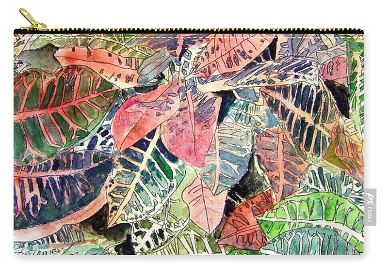 Croton Carry-all Pouch featuring the painting Croton Tropical Art Print by Derek Mccrea