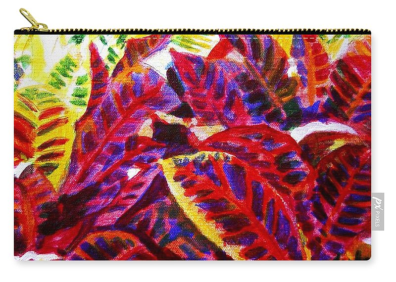 Nature Carry-all Pouch featuring the painting Crotons Sunlit 1 by Usha Shantharam